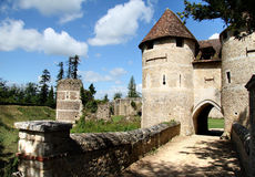 French Chateau. Drawbridge entrance to a Fortified Chateau in Normandy, France Stock Images