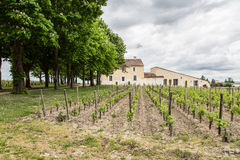 French Chateau in Saint-Emilion. View of a French Chateau with vineyards in Saint Emilion in the Bordeaux region royalty free stock image