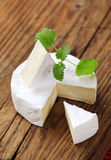 French cheese. Soft cheese with edible white rind - detail stock image