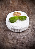 French cheese. White goat cheese with noble rot on wooden table Royalty Free Stock Photos