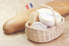 French cheese with bread Stock Photography