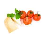 French cheese brie and parmesan with cherry. Tomatoes on white background Stock Images
