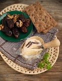 French Cheese, Dates And Walnuts Royalty Free Stock Photo