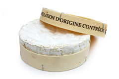 French cheese in his box - Camembert (on a white b Stock Images