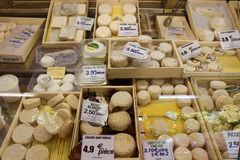 French cheese market stall Stock Photography