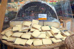 French cheese on an outdoor market place Stock Image