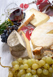 French cheese platter with wine Royalty Free Stock Image