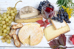 French cheese platter with wine Royalty Free Stock Photography