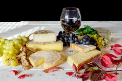 French cheese platter with wine Stock Photography