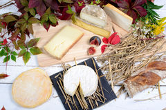 French cheese platter. On the wooden table Stock Photo