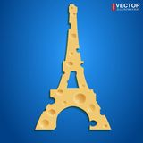 French cheese. Realistic cheese in the shape of the Eiffel Tower. Vector illustration, eps 10, contains transparencies Royalty Free Stock Photography