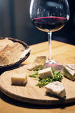 French cheese red wine and bread platter Stock Photography