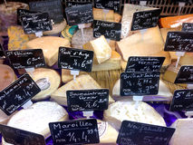 French cheese selection. Selection of french cheese in a display store Stock Photos