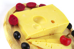 French cheese served with olives Stock Image