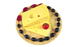 French cheese served with olives Royalty Free Stock Photo