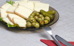 French cheese, stuffed olives Royalty Free Stock Images