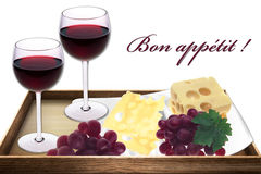 French cheese and wine Stock Photos