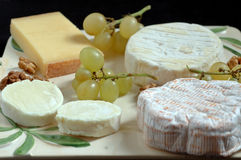 French cheeseboard (detail). Some fine french cheese :,St Felicien, Comte, goat's cheese Royalty Free Stock Images