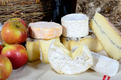 French cheeses with apples Royalty Free Stock Photography
