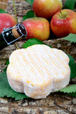 French cheeses with apples Stock Photos