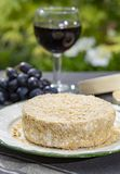 French cheeses collection, piece of fermented cow milk cheese Camembert au Calvados served with glass of sweet red port wine in royalty free stock images