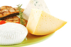 French cheeses and salmon Stock Image