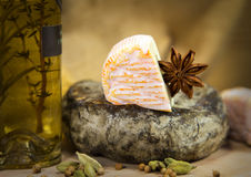 French cheeses with vinegar Royalty Free Stock Photography