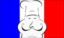 French chef. Stylized or abstract Chef with hat in front of a French flag Stock Image