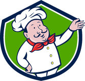 French Chef Welcome Greeting Crest Cartoon Royalty Free Stock Image