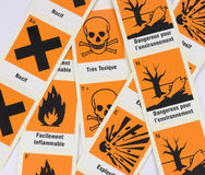 French Chemical Danger Symbols. Strips of chemical danger symbols stickers in French language. Can be used to picture a story about laboratory safety, quality Royalty Free Stock Photo