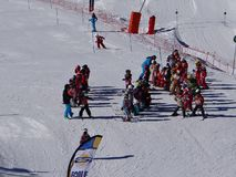 French children form ski school groups Stock Photos