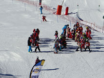 French children form ski school groups Royalty Free Stock Image