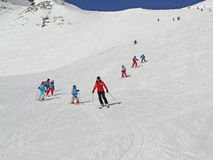 French children learn to ski Stock Images