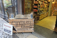 French chocolate shop in Lyon Stock Photography