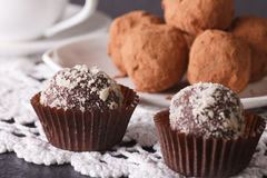 French chocolate truffle sweets closeup on a lace. Horizontal Royalty Free Stock Photos