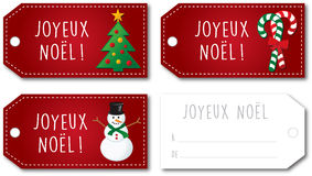 French Christmas gift tag set  Royalty Free Stock Image
