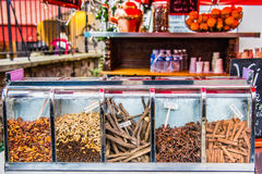 French christmas market. Delicious spices for winter drinks stock photo