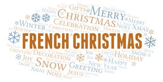 French Christmas word cloud. Wordcloud made with text only vector illustration