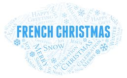 French Christmas word cloud. Wordcloud made with text only royalty free illustration