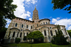 French church. Wide angle view of the Saint-Sernin basilica in Toulouse, France Stock Photo