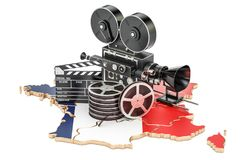 French cinematography, film industry concept. 3D rendering. Isolated on white background Royalty Free Stock Photography