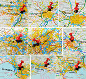 French cities on map (1) Stock Photography