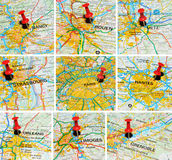 French cities on map (2). Set of major French cities marked with red push-pin on map: Nancy, Rouen, Metz, Strasbourg, Paris, Nantes, Orleans, Limoges, Grenoble Stock Photos
