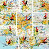French cities on map (3) Royalty Free Stock Images