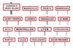 French cities road signs entrance. Vector illustration of some famous French cities entrance road signs Stock Photos