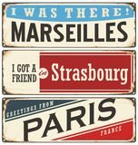 French cities vintage tin signs collection Royalty Free Stock Photo