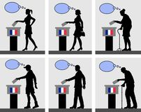 French citizens voting for election in France with thought bubble vector illustration