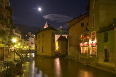 The French city. City Annecy in the evening on coast of the small river royalty free stock photo