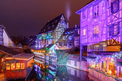 French city Colmar on Christmas Eve. Royalty Free Stock Image