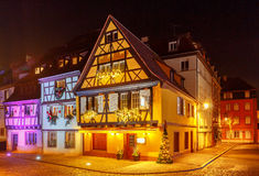 French city Colmar on Christmas Eve. Royalty Free Stock Images